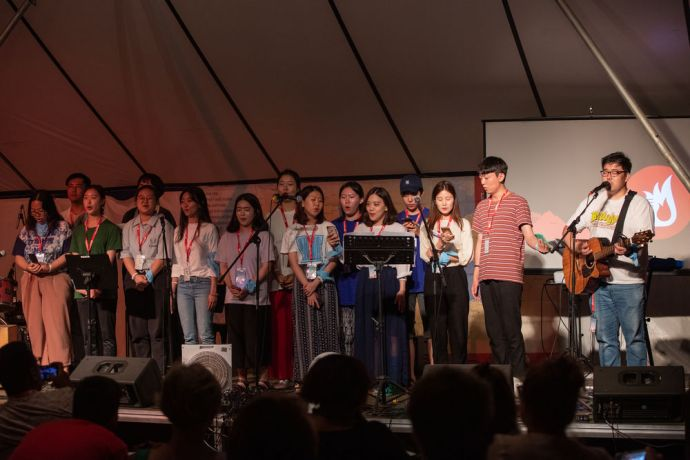 Greece: A group from South Korea performs a song at Transform. Over 140 people from 30 different countries attended the week-long conference in Greece. Photo by Rebecca Rempel More Info
