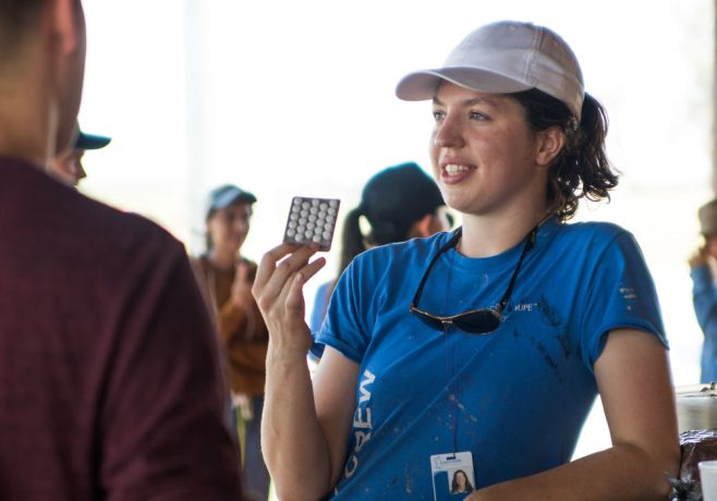 Brazil: Santos, Brazil :: Louisa Colley (United Kingdom) explains the use of sea sick pills. More Info