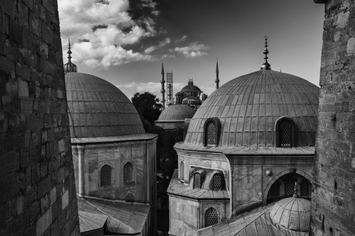 Turkey: View of the Blue Mosque from the Hagia Sofia in Istanbul Turkey.  Photo by Garrett N More Info