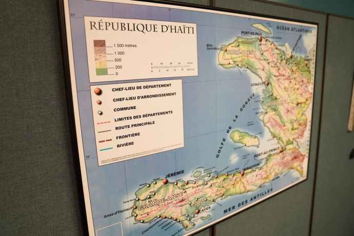 Jamaica: Map of Caribbean in OM Office. photo by alex arpag More Info