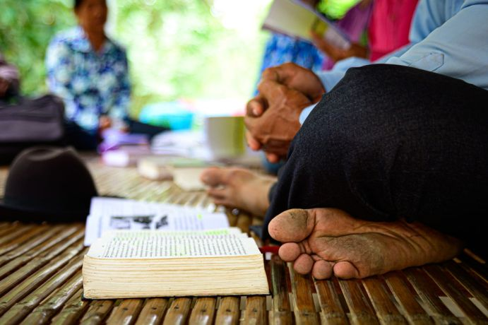 Cambodia: Bible study in a Cambodian village. More Info