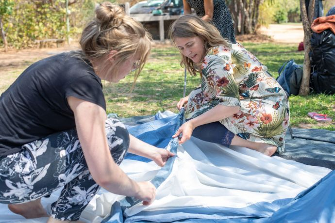 Switzerland: Manuela (right) from Switzerland setting up a tent during the Luke 24 Journey. The Luke 24 Journey is a month-long programme that focuses on hearing God's voice and living by faith and obedience. With no set schedule, the group asks and trusts the Lord for direction and guidance. Photo by Rebecca Rempel More Info