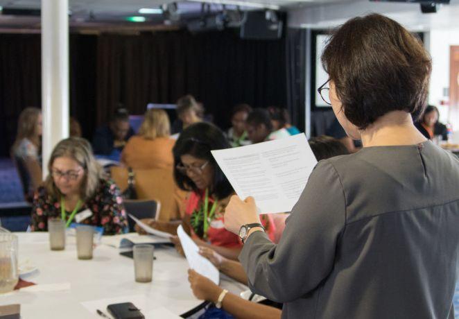 Brazil: Rio de Janeiro, Brazil :: Mi-Ae Park (South Korea) leads a women Bible study time on board. More Info