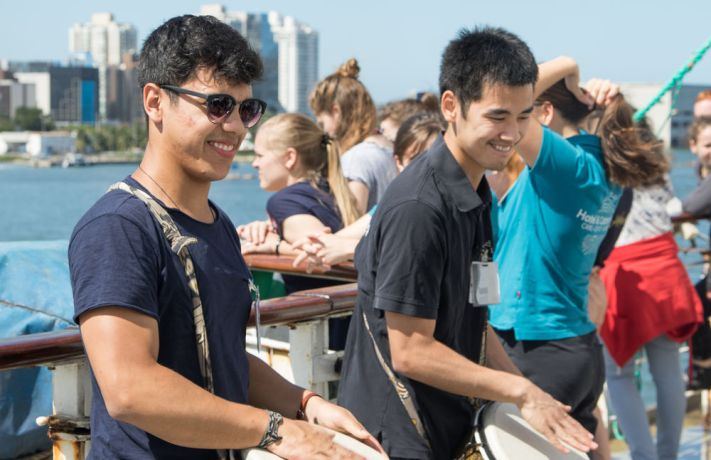 Brazil: Vitoria, Brazil :: Jonathan Pozo (Ecuador) and Erdenebold Bold (Mongolia) play the drums during the ships arrival. More Info