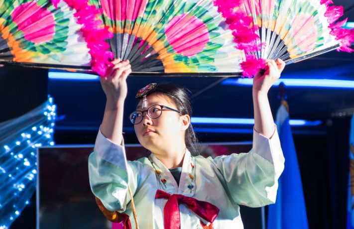 Brazil: Vitoria, Brazil :: YeRim Choi (South Korea) performs the Korean fan dance at the official opening of Logos Hope in Vitoria, Brazil. More Info