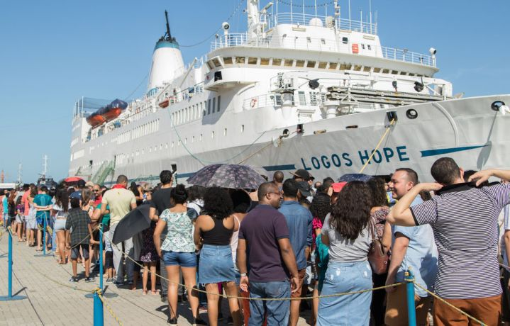 Brazil: Vitoria, Brazil :: Visitors wait on the quayside to enter in bookfair. More Info