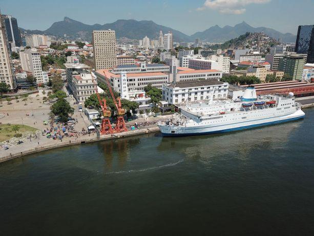 Brazil: Rio de Janeiro, Brazil :: Aerial view of the ship in port. More Info