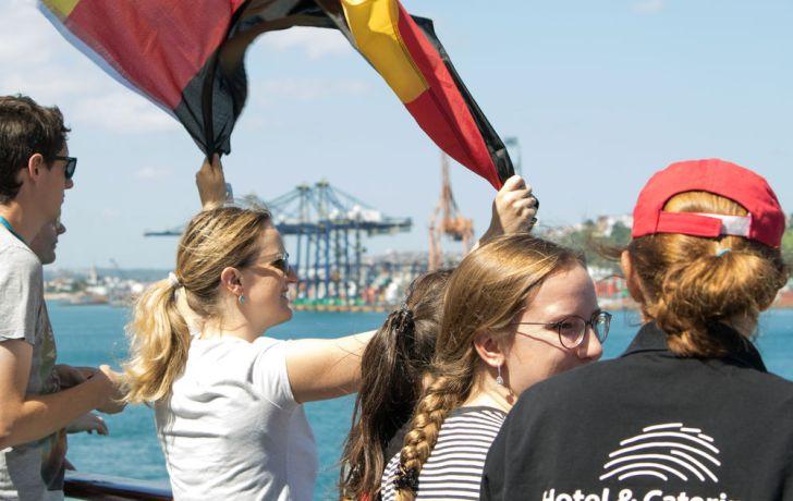 Brazil: Vitória, Brazil :: Laura Kester (Germany) enjoys the ships arrival into port. More Info