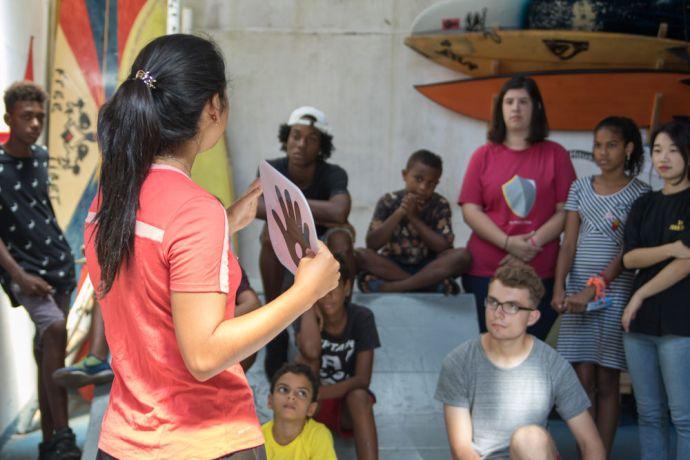 Brazil: Salvador, Brazil :: Bianca Pimentel (Ecuador) gives a gospel presentation at a skateboarding workshop. More Info