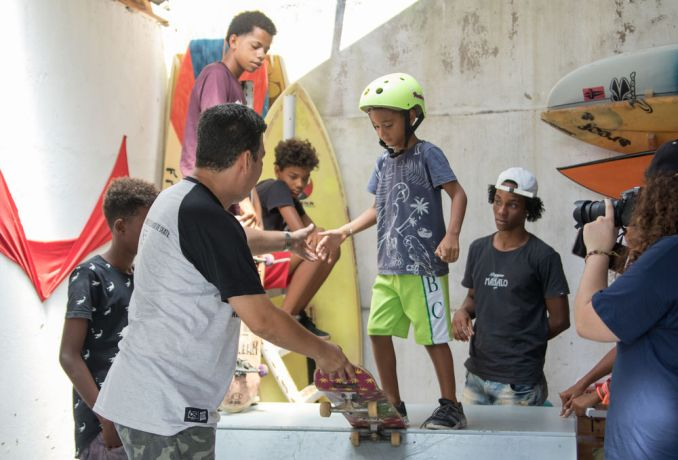 Brazil: Salvador, Brazil :: A pastor teaches skateboarding to children. More Info