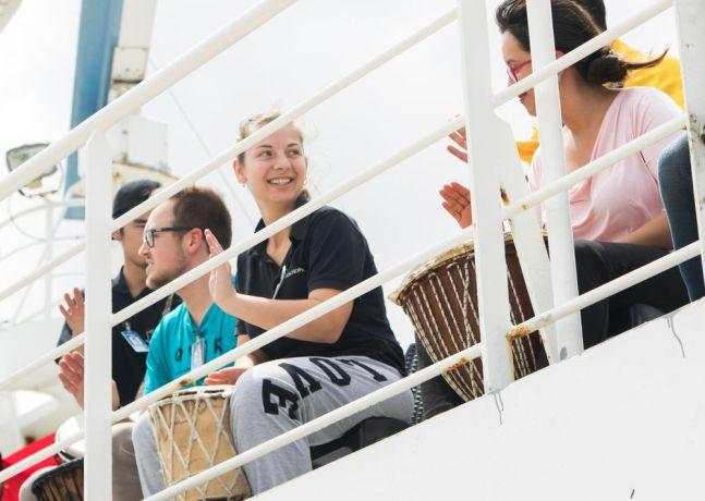 Brazil: Belém, Brazil :: Mica Di Florio (Argentina) plays drum at the ships arrival in Belém. More Info