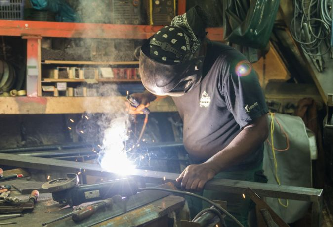 Brazil: Belém, Brazil :: Tony Patureau (France) works in the welders workshop. More Info