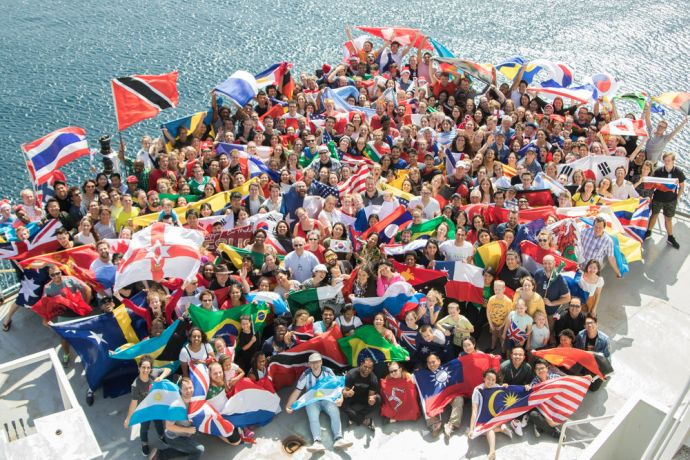 Saint Vincent & the Grenadines: Kingstown, Saint Vincent and the Grenadines :: Logos Hopes crewmembers gather on the ship for their annual group photograph. More Info