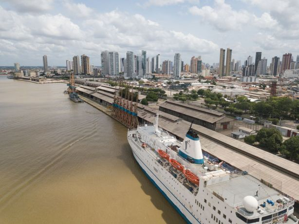 Brazil: Belém, Brazil :: Aerial view of the ship in port. More Info