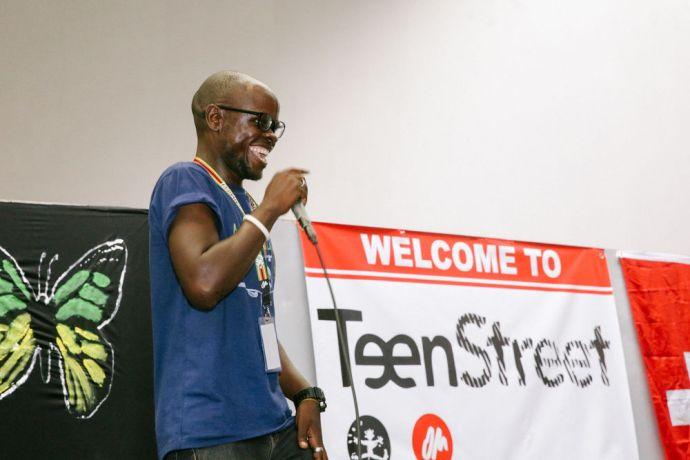 Zimbabwe: A crew member speaks at Teenstreet in Zimbabwe More Info