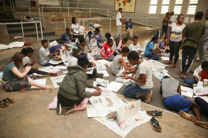 Zimbabwe: Teens take part in a group activity at Teenstreet in Zimbabwe More Info