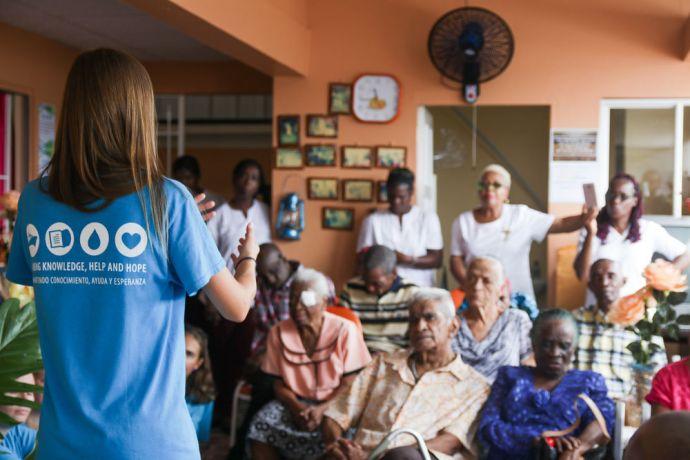 Trinidad & Tobago: Port of Spain, Trinidad and Tobago :: Yulia Lyagutskaya (Russia) shares a message with elderly people. More Info