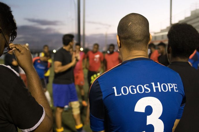 Trinidad & Tobago: Port of Spain, Trinidad and Tobago :: Logos Hopes football team members share their stories with people before a match. More Info