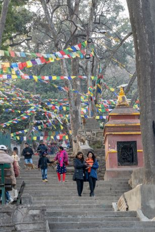 South Asia: People walk under Tibetan prayer flags in South Asia. Photo by Rebecca Rempel. More Info