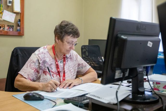 South Africa: Jane, from the USA, working in the finance department at the OM office in South Africa. Photo by Rebecca Rempel. More Info