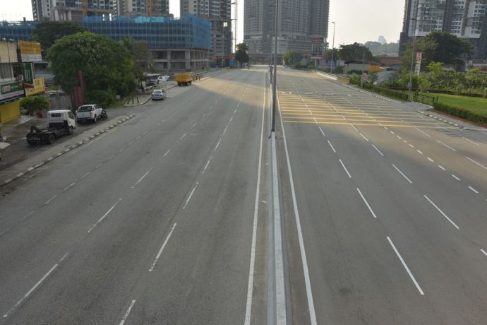 Malaysia: An empty street in Kuala Lumpur, Malaysia during rush hour shows the countrys lock down measures in action to prevent the spread of COVID-19. More Info