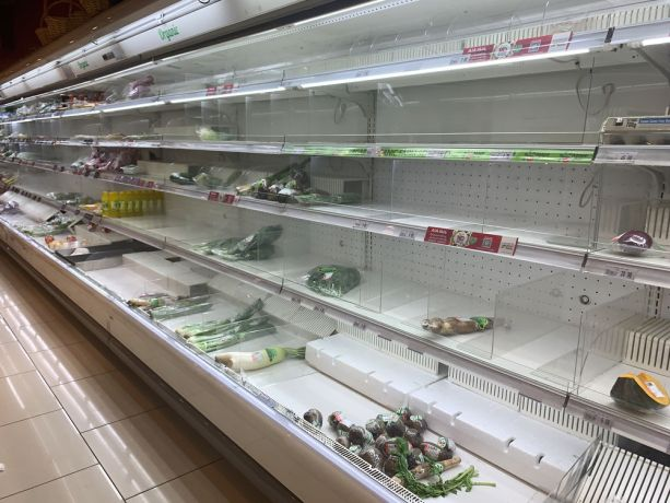 Malaysia: The almost empty produce shelves in a grocery store  in Kuala Lumpur, Malaysia show the countrys lockdown measures in action to prevent the spread of COVID-19. More Info