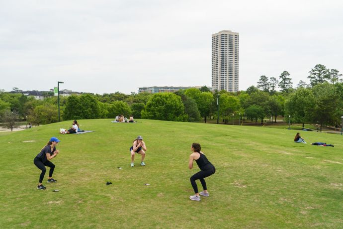 International: For most who live in Houston Texas life has slowed to what others might call a normal pace. Though social distancing is strongly encouraged people are spending more time outside and exercising. Most medical centers are screening and have installed extra precautions. All restaurants have adapted to take-away rather than having to close altogether.  Photo by Garrett N More Info