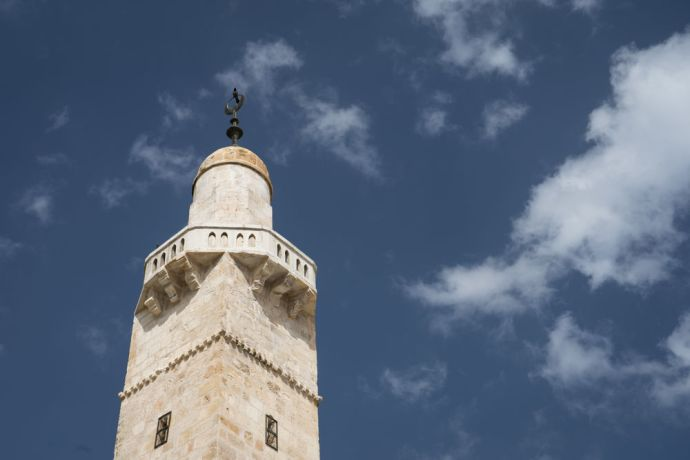 Israel: A mosque minaret. The call to prayer is broadcast from this tower five times a day. Photo by Rebecca Rempel. More Info