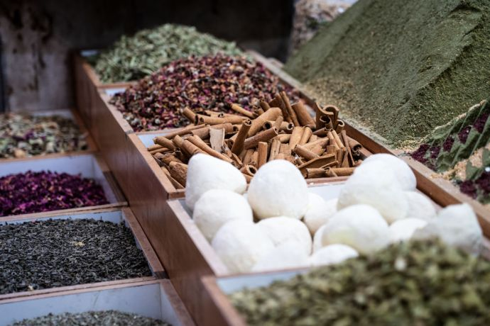 Israel: Spices at a market in Jerusalem. Photo by Rebecca Rempel. More Info
