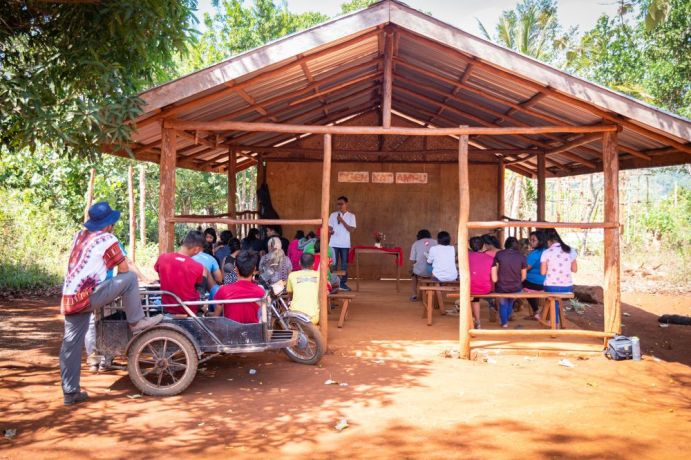 Philippines: The Palawan team speaking at a tribal church. Photo by Alex Coleman. More Info