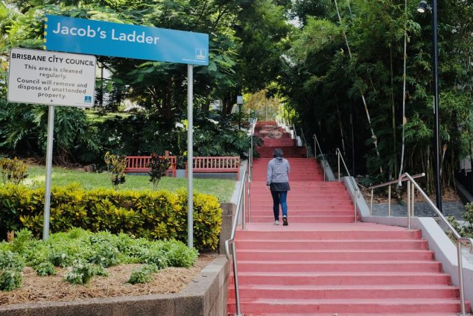 Australia: Woman walking up Jacob's Ladder in Brisbane during COVID restrictions. Photo by Hadley Toweel. 5 More Info
