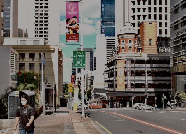 Australia: Streets of Brisbane reflect COVID restrictions. Photo by Hadley Toweel. More Info