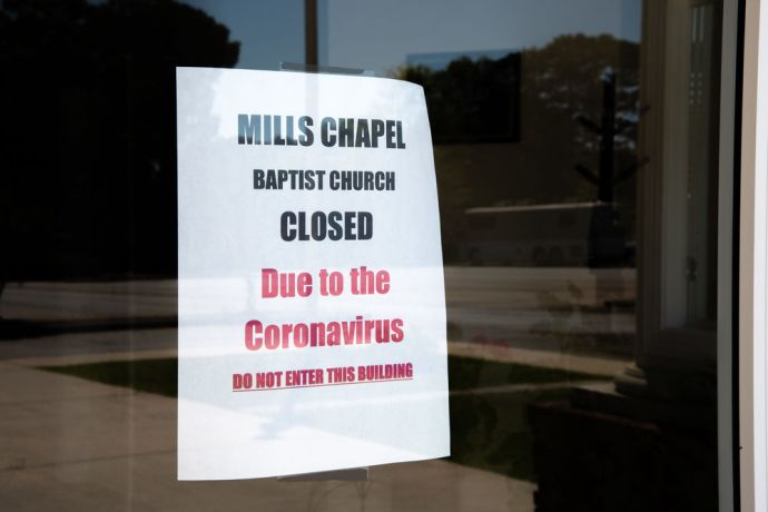 United States: Covid-19 closes US churches. Photo by Dave McKissick. More Info