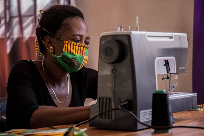 Zambia: Women from Tabitha Ministry in Zambia sewing masks for the community during the COVID-19 pandemic. Photo by Kauya Mali. More Info