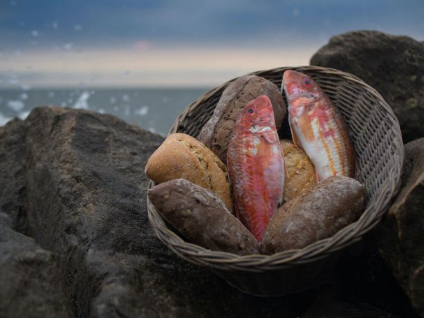 Arabian Peninsula: Five loaves and two fish. Photo by RJS. More Info