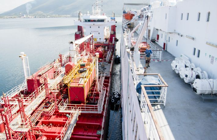 Jamaica: Kingston, Jamaica :: Logos Hope receives fuel from a bunker barge. The fuel was paid for by donors in the Faroe Islands. More Info