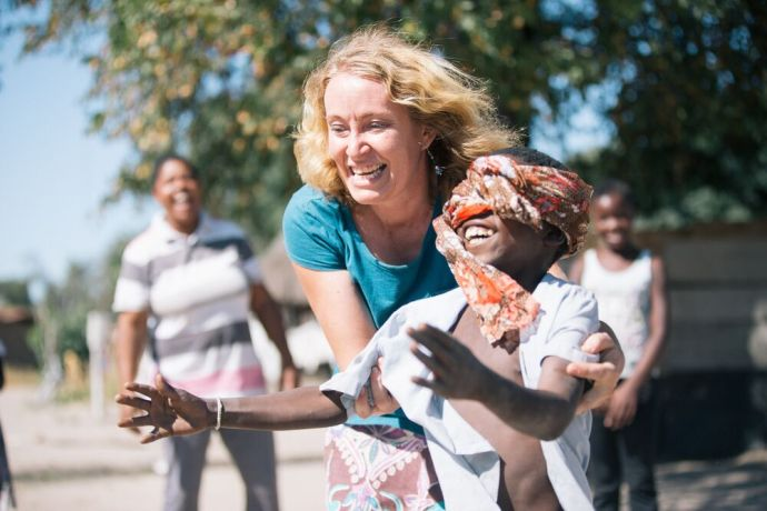 Namibia: Playing games at childrens ministry. Photo by Doseong Park. More Info