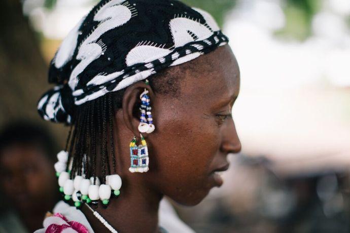 Ghana: A woman wearing beaded earrings in Ghana. Photo by Do Seong Park. More Info