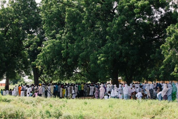 Ghana: A group meets under the trees outside a mosque in Ghana. Photo by Do Seong Park. More Info