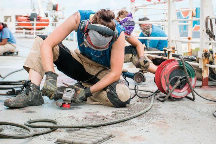 Jamaica: Kingston, Jamaica :: Deck crewmembers perform annual maintenance on Logos Hope. More Info