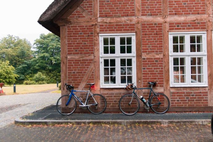 Germany: Two bicycles rest against a building during a pause in the Coronaride, a 1,000 km trek across Germany. Photo by Antonia Leanne (used with permission by Kontakt Mission) More Info