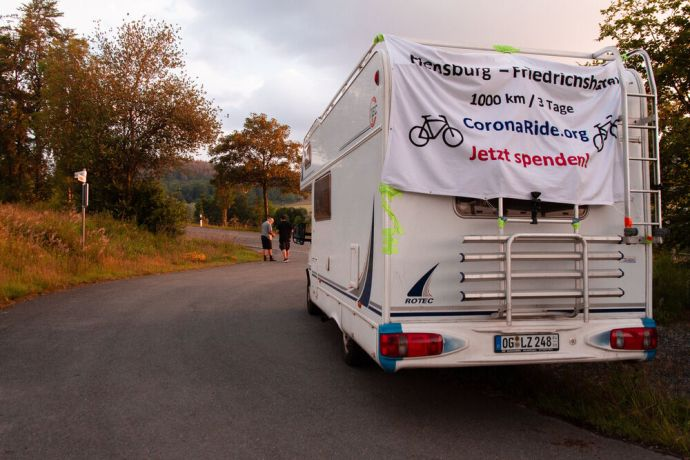 Germany: Chris spent time praying in the support vehicle during the Coronaride. Photo by Antonia Leanne (used with permission by Kontakt Mission) More Info