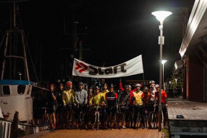 Germany: Cyclists gather under the start banner of the Coronaride, a 1,000 km trek across Germany to raise funds for those impacted by the coronavirus. Photo by Antonia Leanne (used with permission by Kontakt Mission) More Info