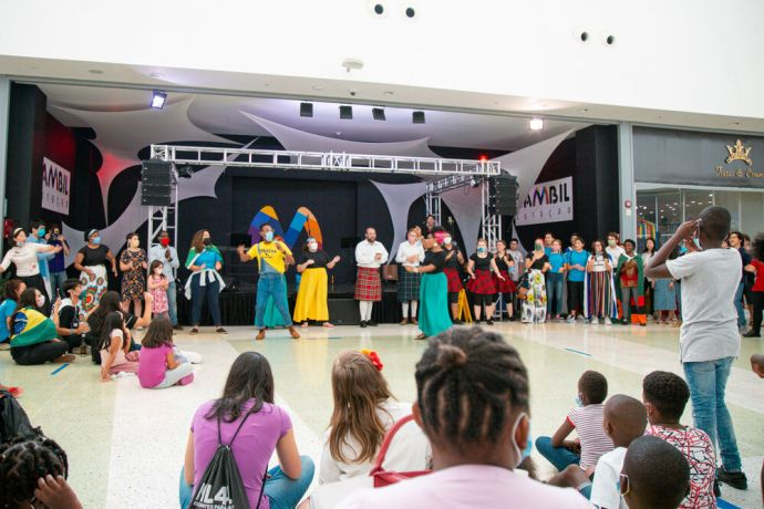Curaçao: Willemstad, Curaçao :: Crew showcase their diverse talents at an outreach event in a shopping mall. More Info