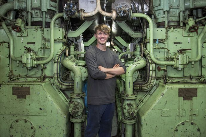 Ships: Peter Carrigan (UK) serves in Logos Hopes engine room for his university placement year. More Info