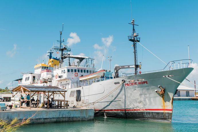 Bahamas: Abaco, Bahamas :: Pacific Hope, the ministry partner vessel of Logos Hope, at her berth in the Abaco Islands. More Info