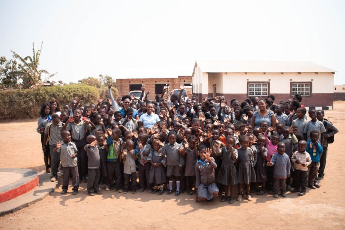 Zambia: Group photo of teachers and students at Makwati School in Kabwe, Zambia. More Info