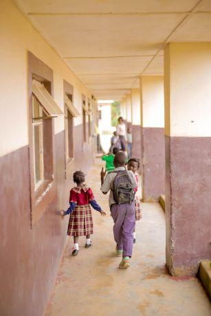Zambia: Students walk to class at Makwati School in Kabwe, Zambia. More Info
