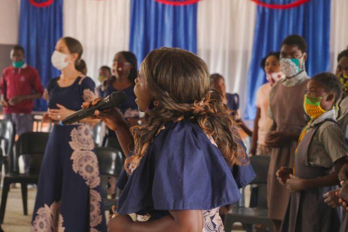 Zambia: Student singing at Makwati School in Kabwe, Zambia. More Info