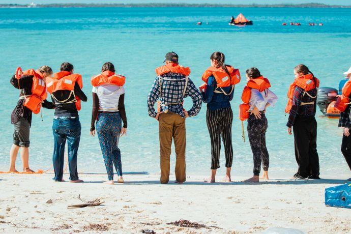 Bahamas: Abaco, Bahamas ::  New crewmembers doing water survival training. More Info